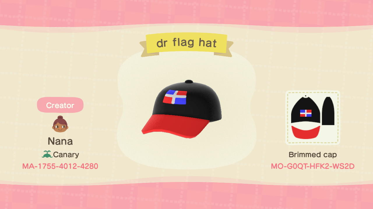 Dominican flag hat - Animal Crossing: New Horizons Custom Design