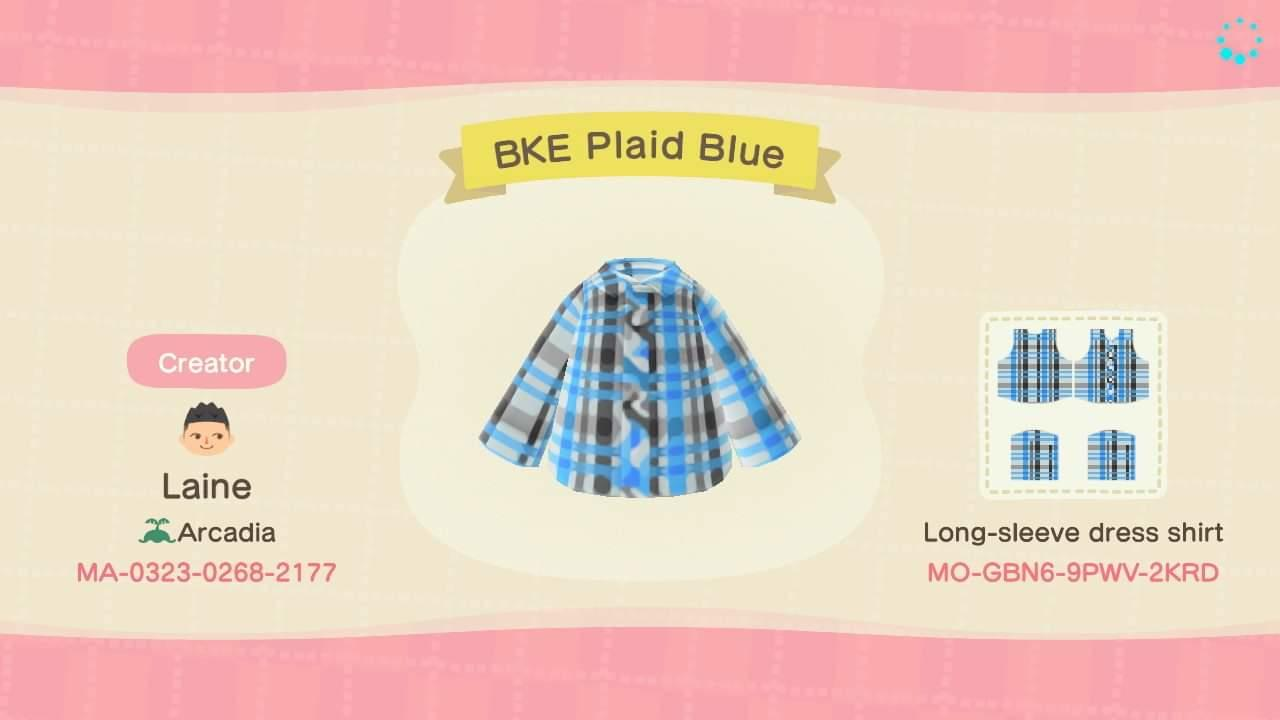 BKE Plaid Blue - Animal Crossing: New Horizons Custom Design