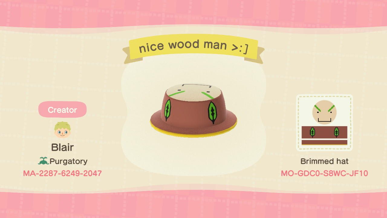 nice wood man >:] - Animal Crossing: New Horizons Custom Design