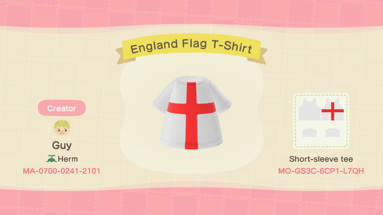 England Flag T-Shirt - Animal Crossing: New Horizons Custom Design