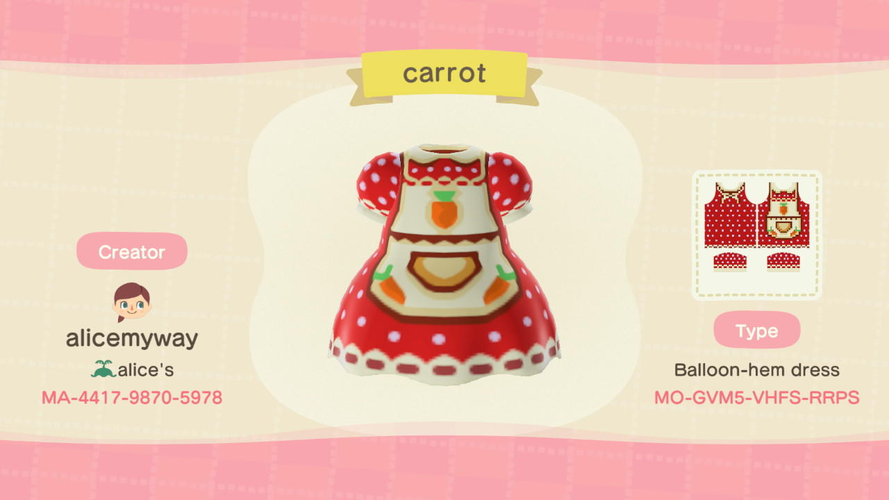Carrot apron - Animal Crossing: New Horizons Custom Design