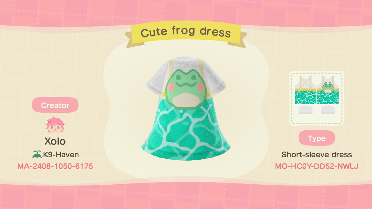 Cute frog dress - Animal Crossing: New Horizons Custom Design