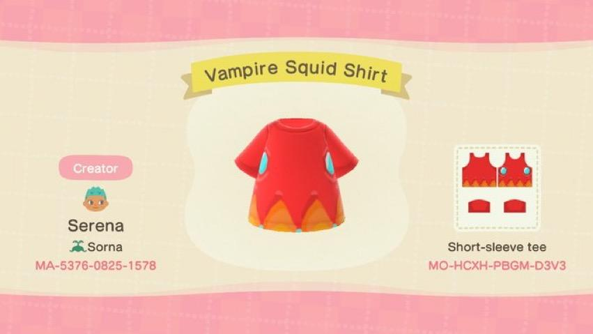 Vampire Squid Shirt - Animal Crossing: New Horizons Custom Design