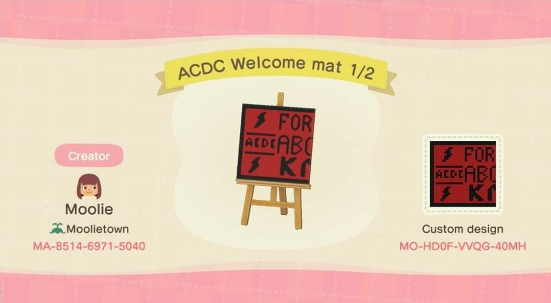 ACDC Welcome mat 1/2 - Animal Crossing: New Horizons Custom Design