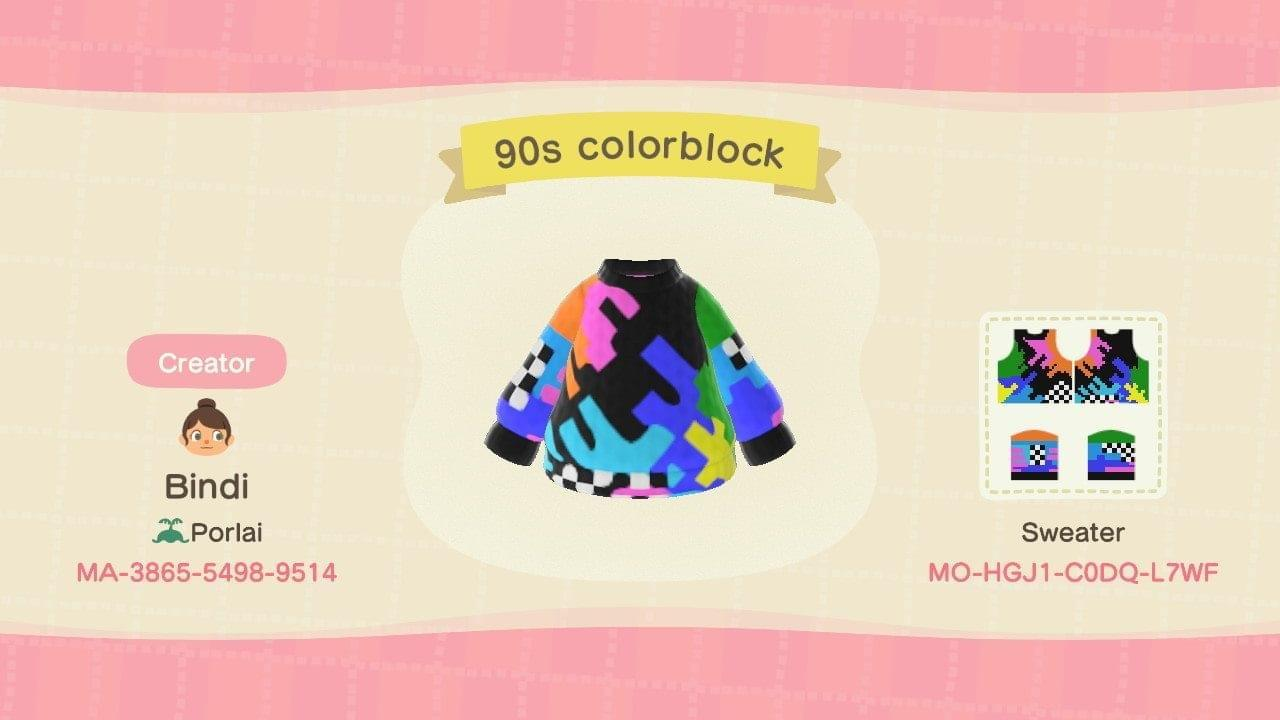 90s colorblock - Animal Crossing: New Horizons Custom Design