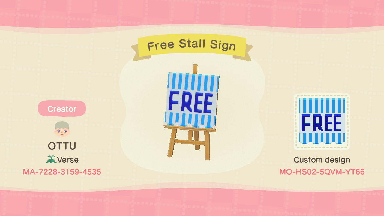 Free Stall Sign - Animal Crossing: New Horizons Custom Design