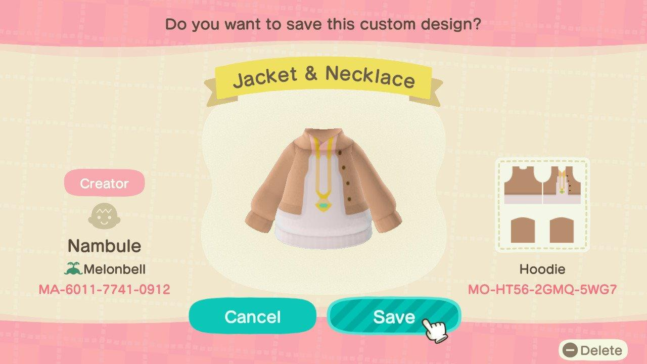 Jacket & Necklace - Animal Crossing: New Horizons Custom Design