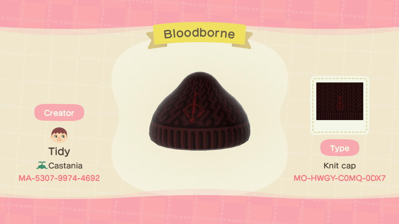 Bloodborne Beanie - Animal Crossing: New Horizons Custom Design