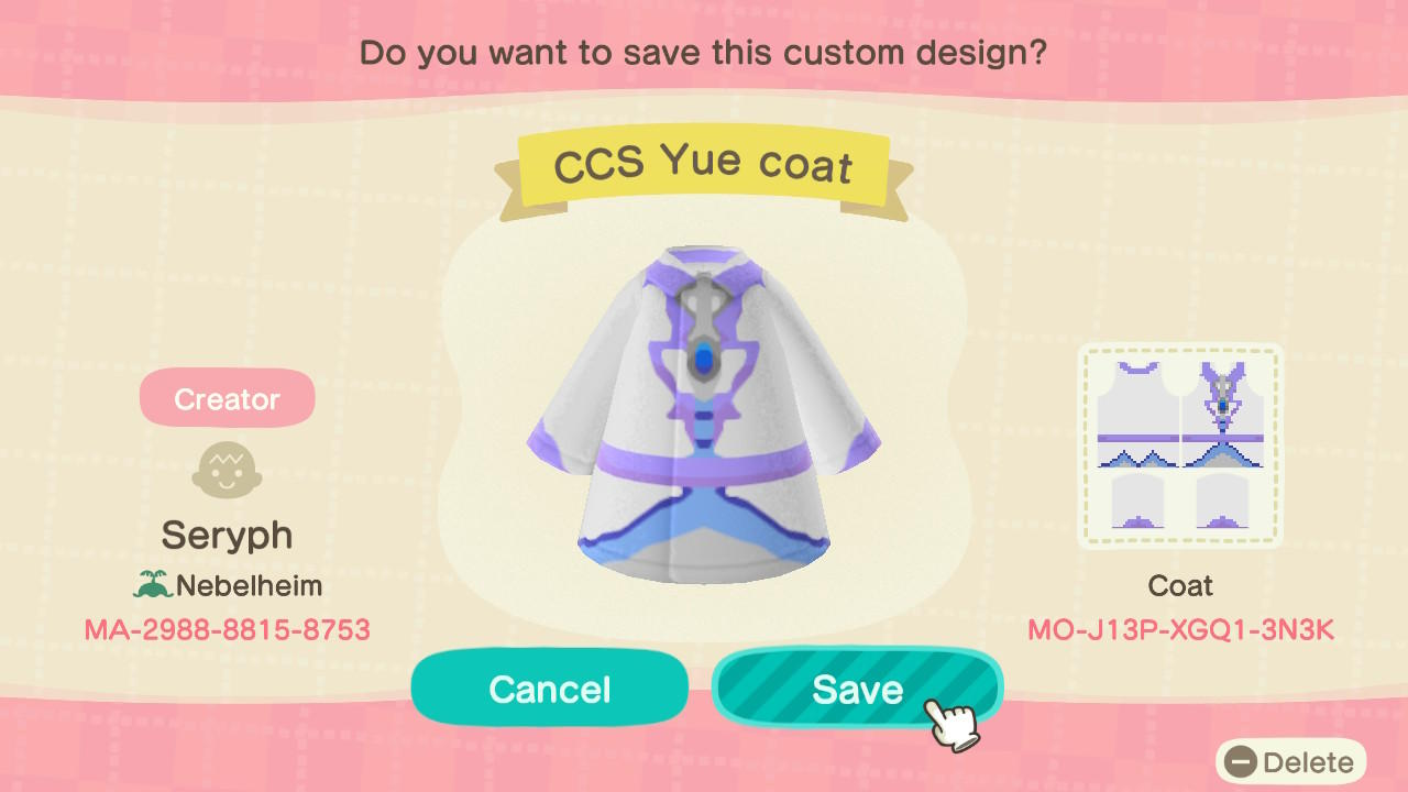 Cardcaptor Yue Coat - Animal Crossing: New Horizons Custom Design