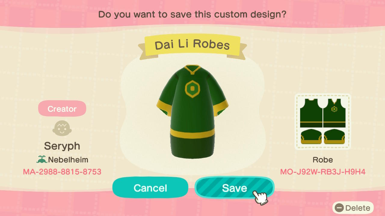 Dai Li Robes (1) - Animal Crossing: New Horizons Custom Design