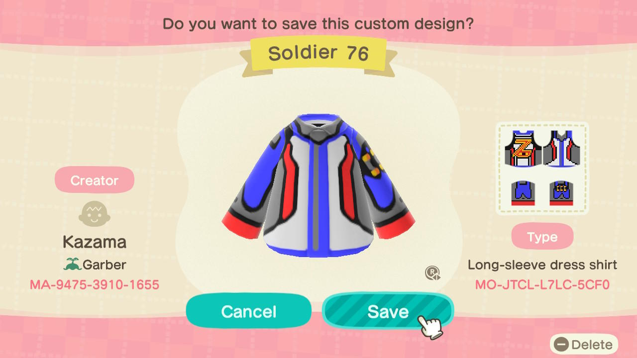 Soldier 76 - Animal Crossing: New Horizons Custom Design