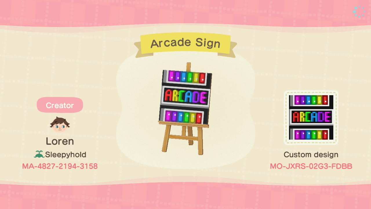 Arcade Sign - Animal Crossing: New Horizons Custom Design
