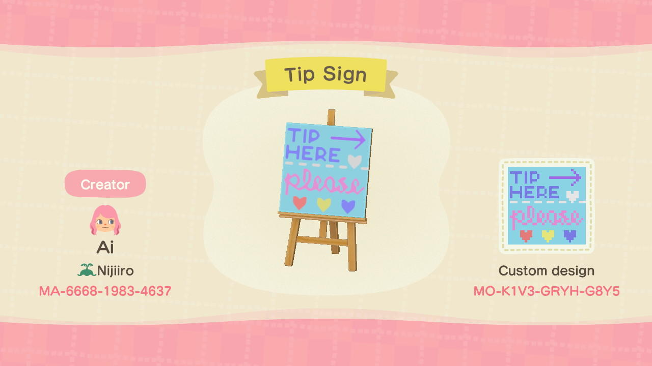 Tip Here Please Sign - Animal Crossing: New Horizons Custom Design