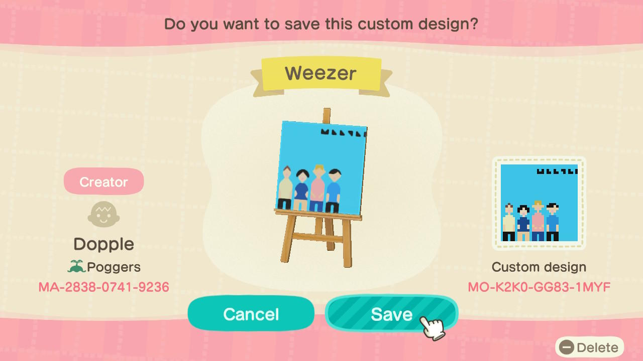 Weezer - Animal Crossing: New Horizons Custom Design