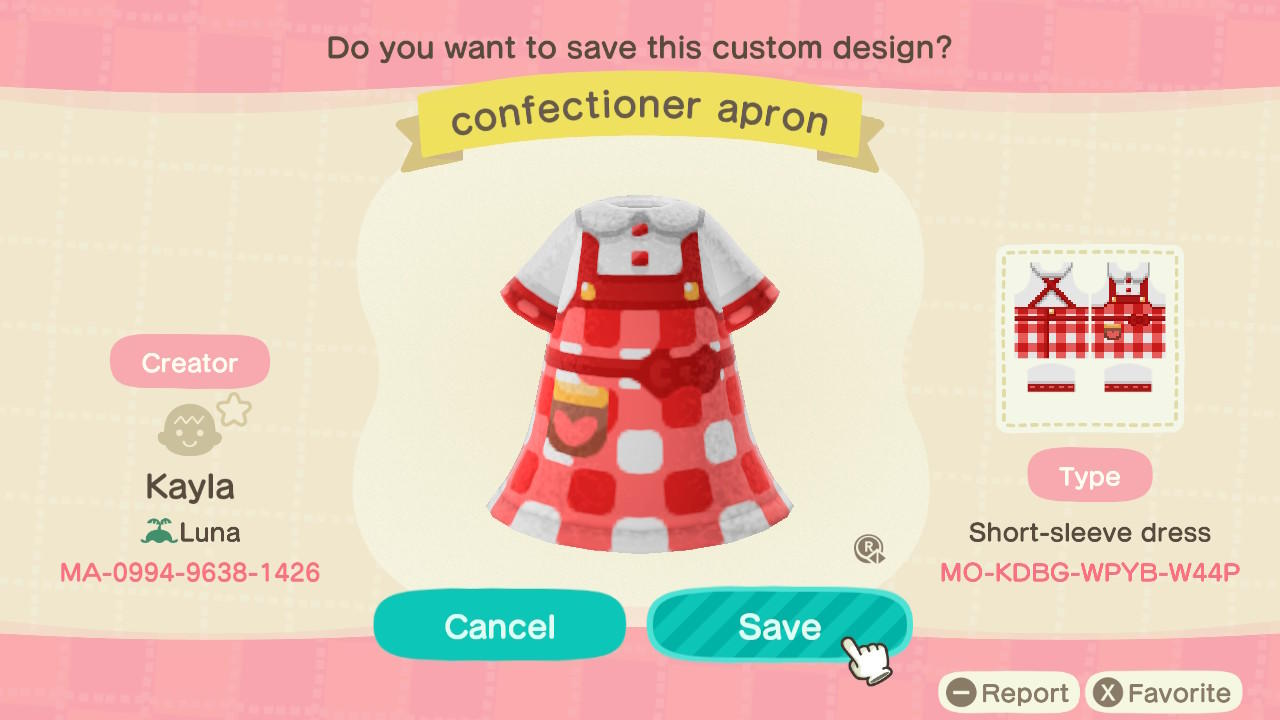 confectioner apron - Animal Crossing: New Horizons Custom Design