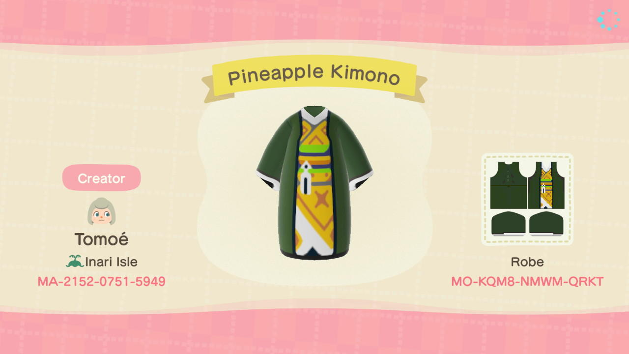 Pineapple Kimono Animal Crossing New Horizons Custom Design