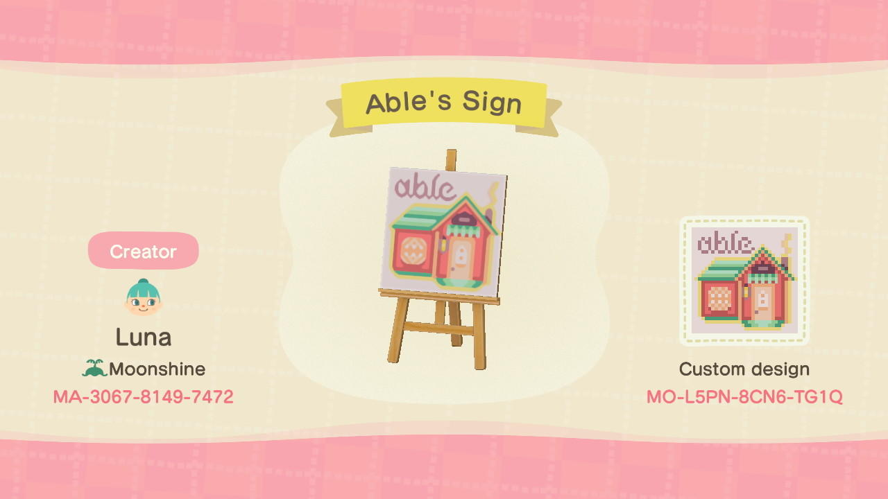 Able's Sign - Animal Crossing: New Horizons Custom Design