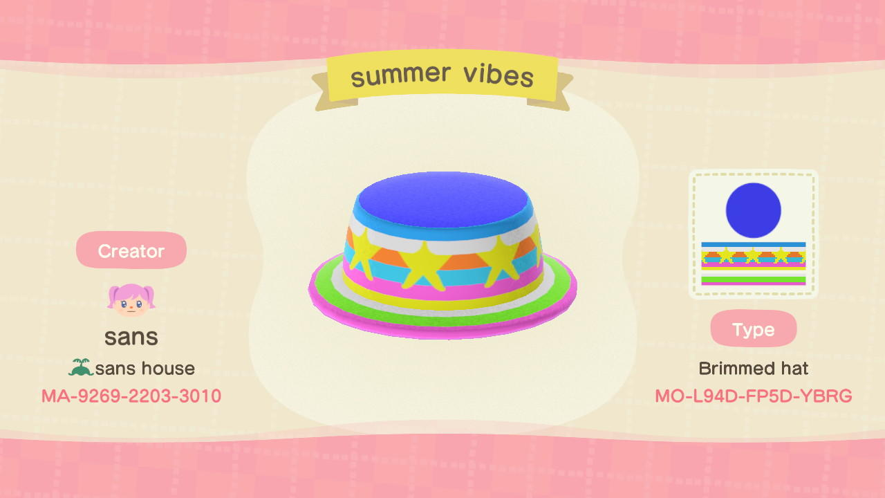 Summer vibes hat - Animal Crossing: New Horizons Custom Design