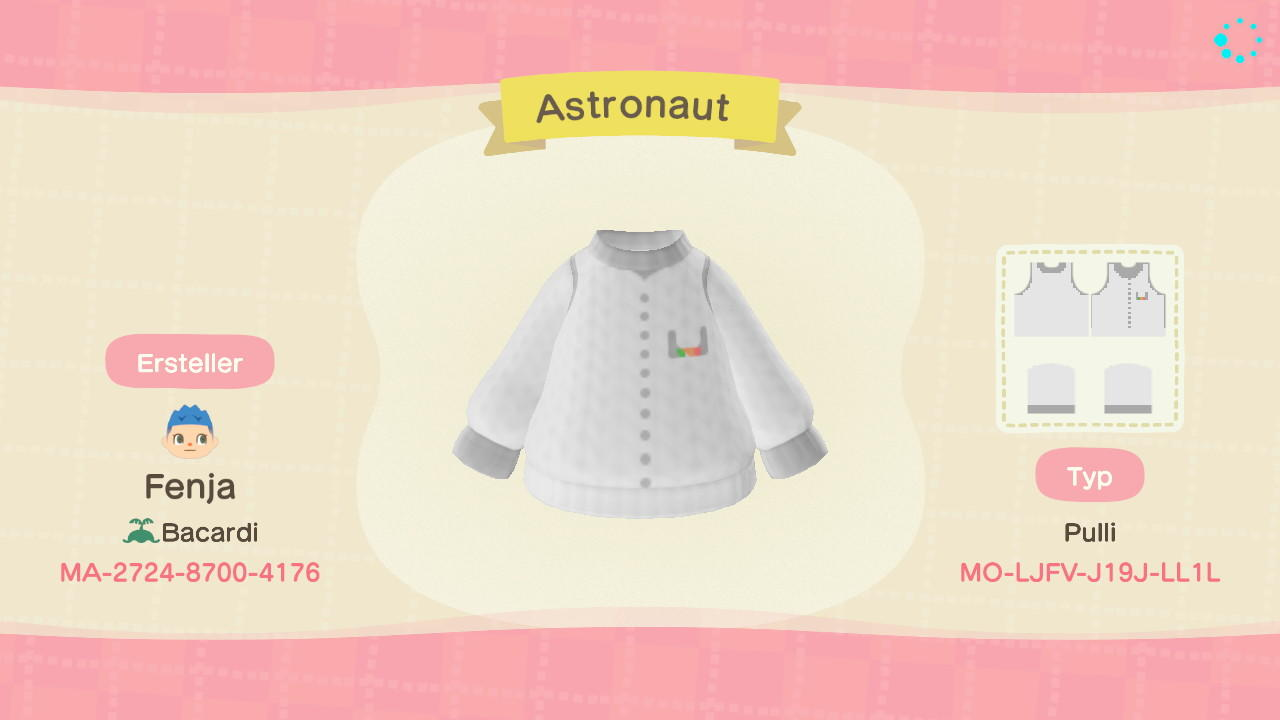 Astronaut top - Animal Crossing: New Horizons Custom Design