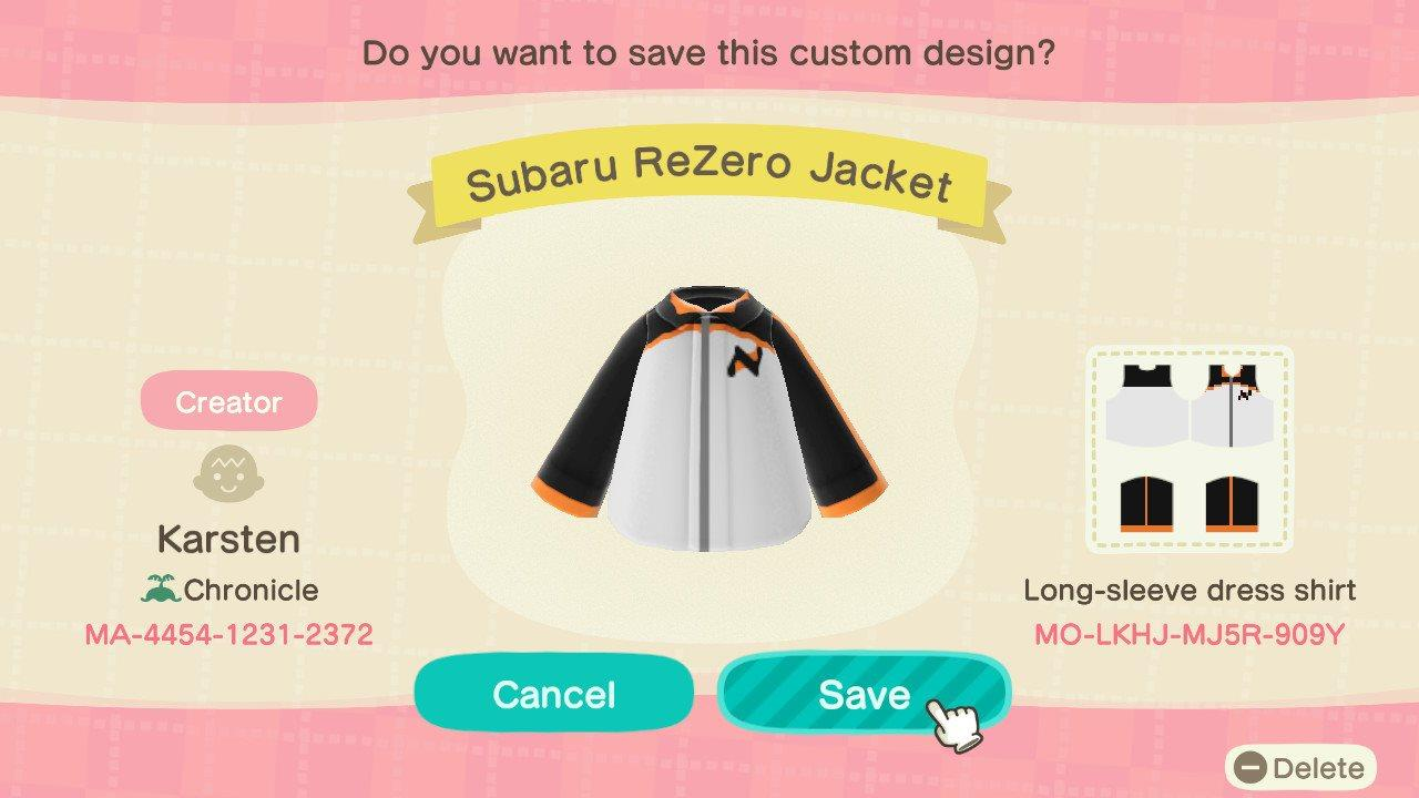 Subaru ReZero Jacket - Animal Crossing: New Horizons Custom Design