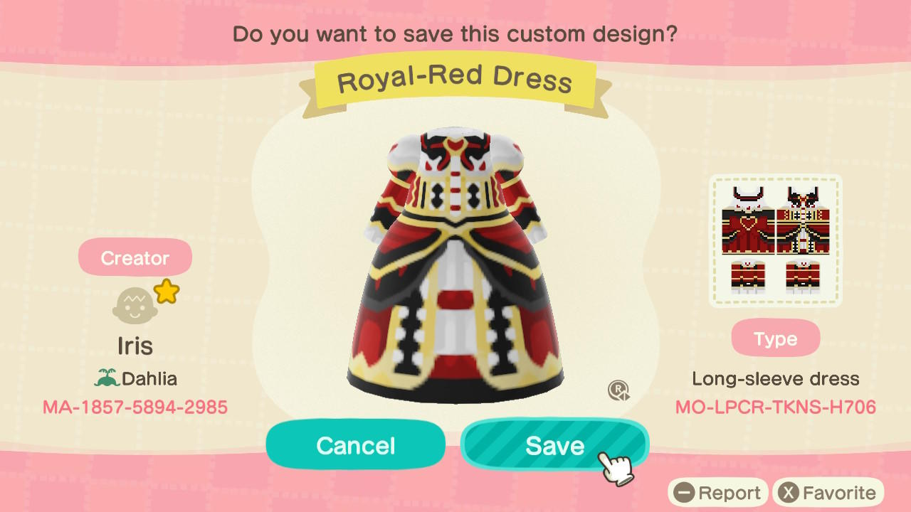 Royal-Red Dress - Animal Crossing: New Horizons Custom Design