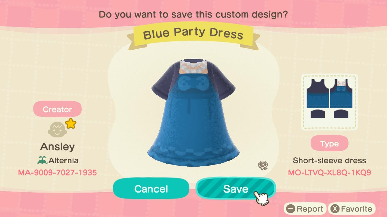 Blue Party Dress - Animal Crossing: New Horizons Custom Design