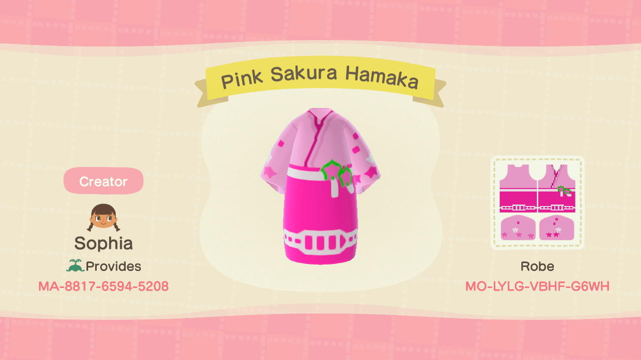 Pink Sakura Hakama - Animal Crossing: New Horizons Custom Design