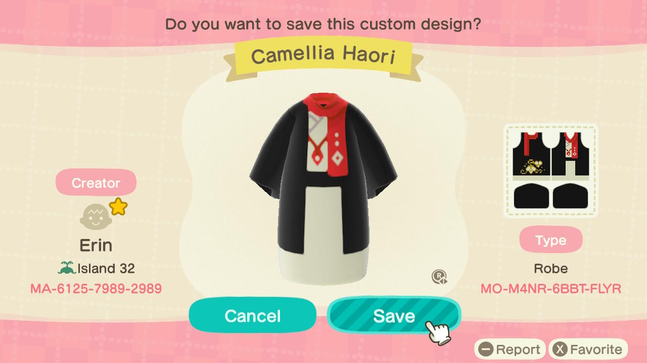 Camellia Haori - Animal Crossing: New Horizons Custom Design