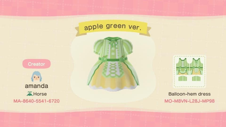 Apple Lolita Green - Animal Crossing: New Horizons Custom Design