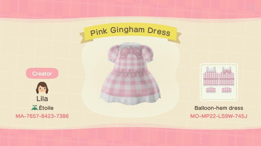 Pink Gingham Dress - Animal Crossing: New Horizons Custom Design