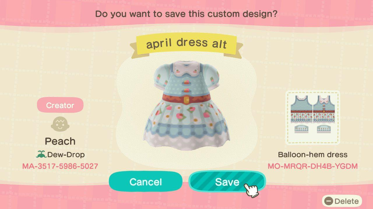 april dress alt - Animal Crossing: New Horizons Custom Design