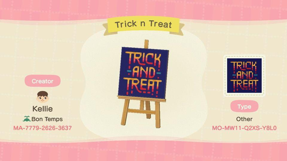 Trick n Treat sign - Animal Crossing: New Horizons Custom Design