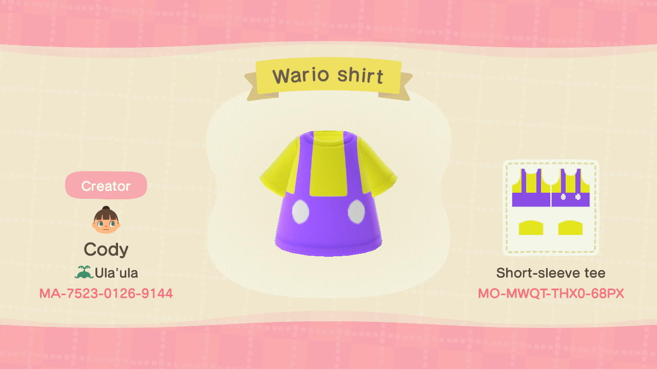 Wario shirt - Animal Crossing: New Horizons Custom Design
