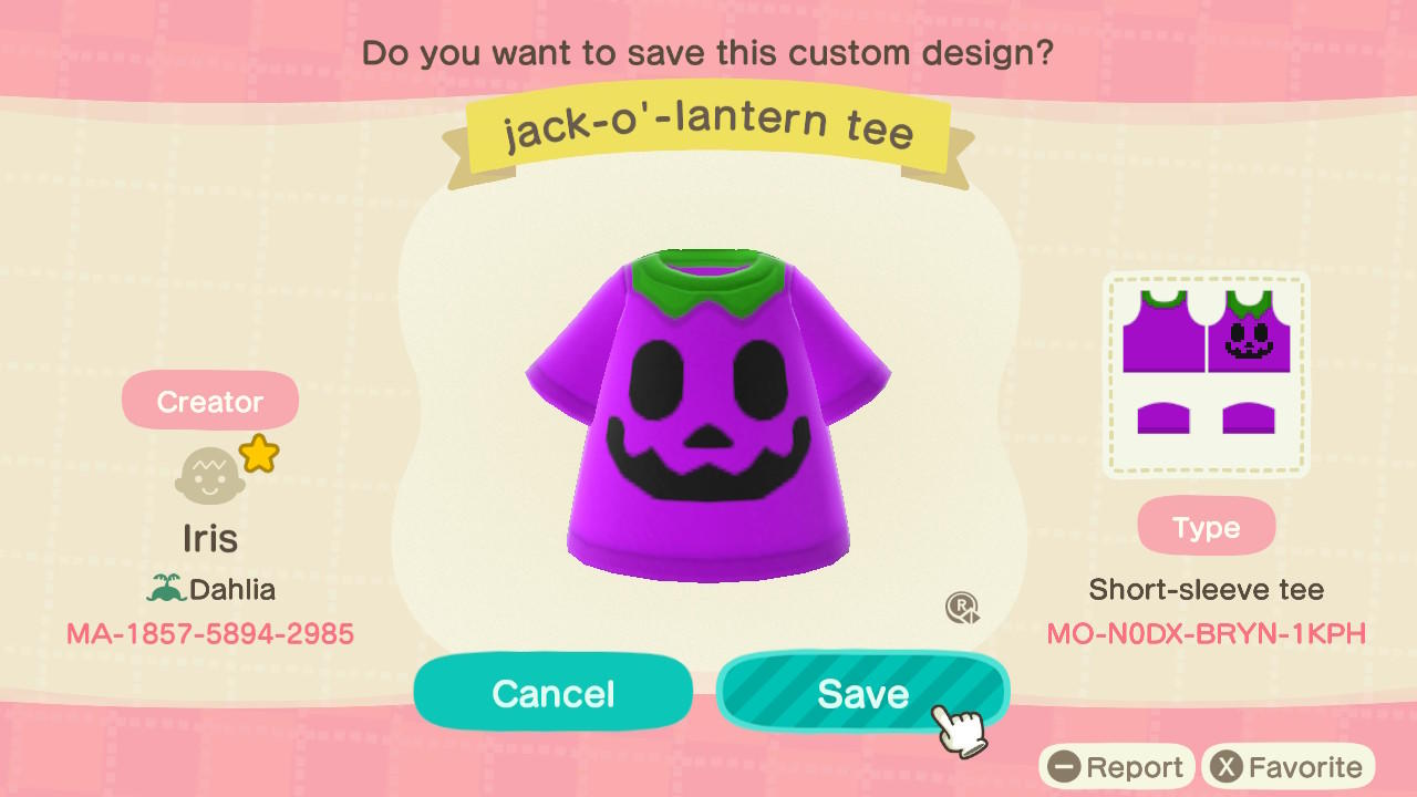 jack-o'-lantern tee - Animal Crossing: New Horizons Custom Design