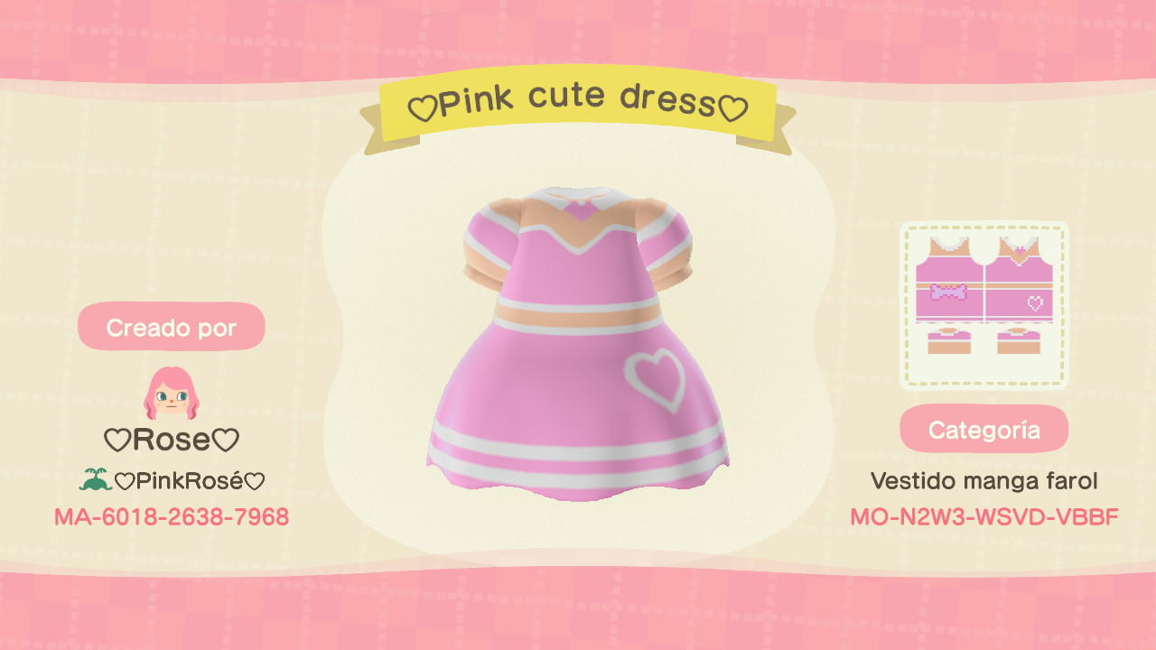 Pink Cute Dress  - Animal Crossing: New Horizons Custom Design
