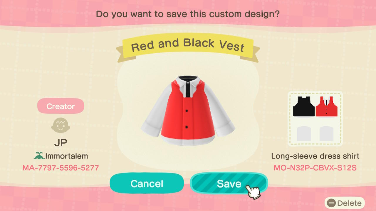 Red and Black Vest - Animal Crossing: New Horizons Custom Design