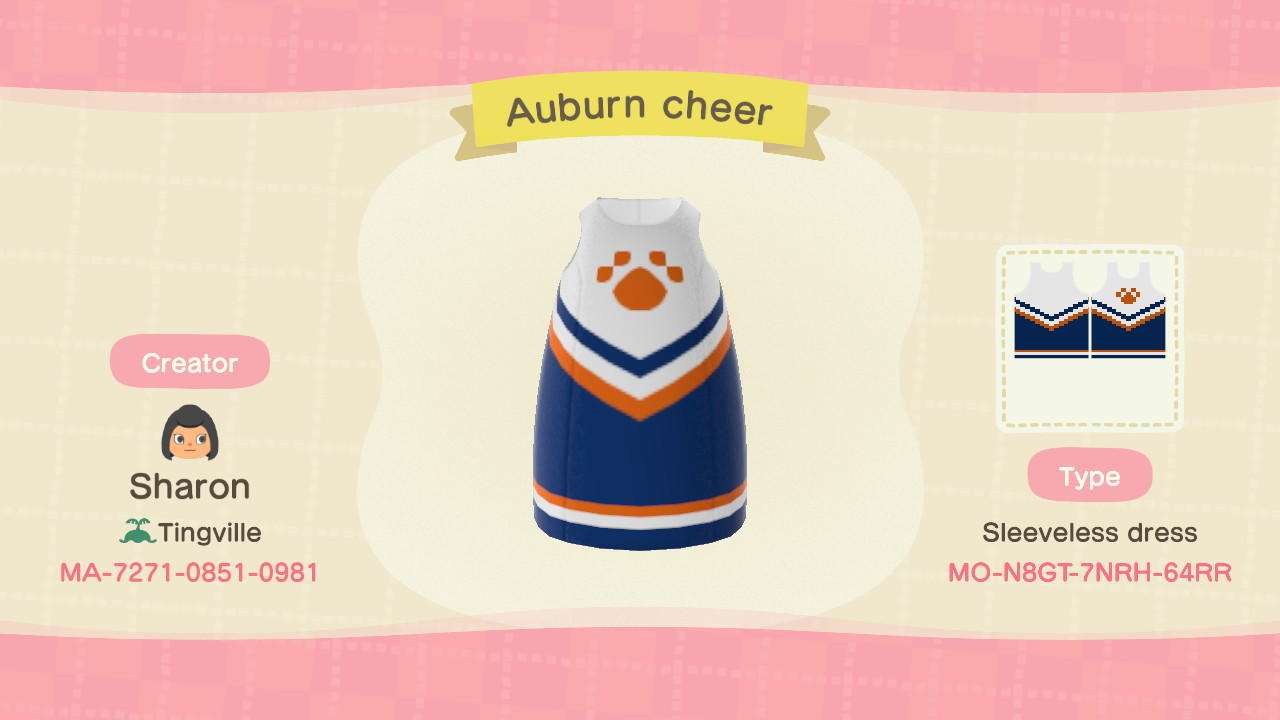 Auburn cheerleader - Animal Crossing: New Horizons Custom Design