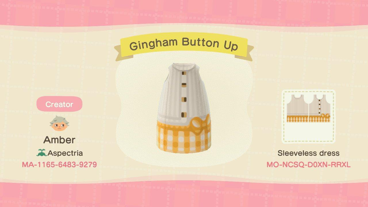 Gingham Button Up - Animal Crossing: New Horizons Custom Design