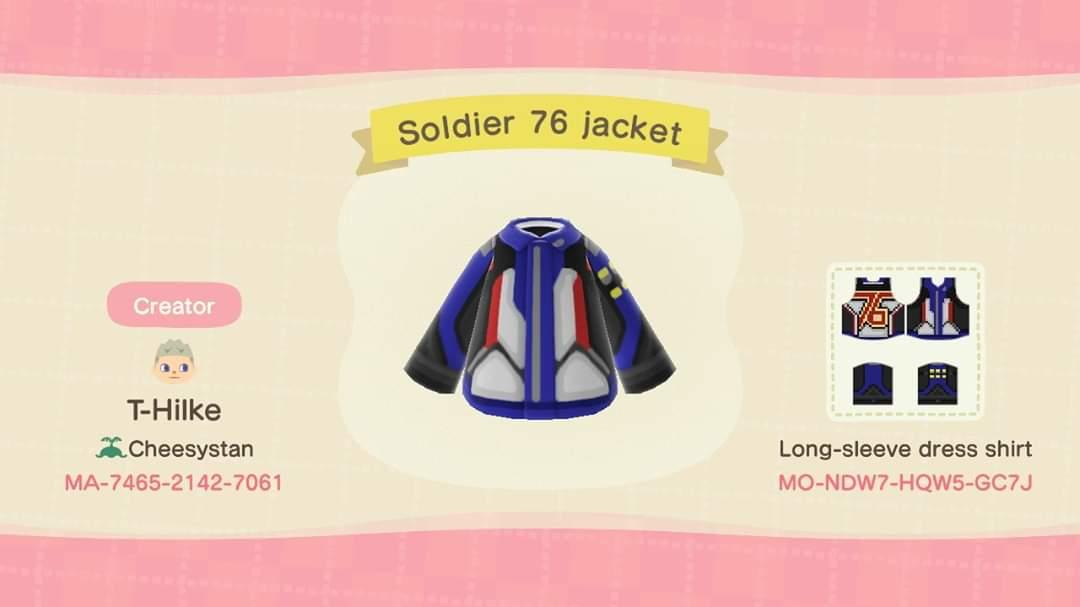 Soldier 76 jacket - Animal Crossing: New Horizons Custom Design
