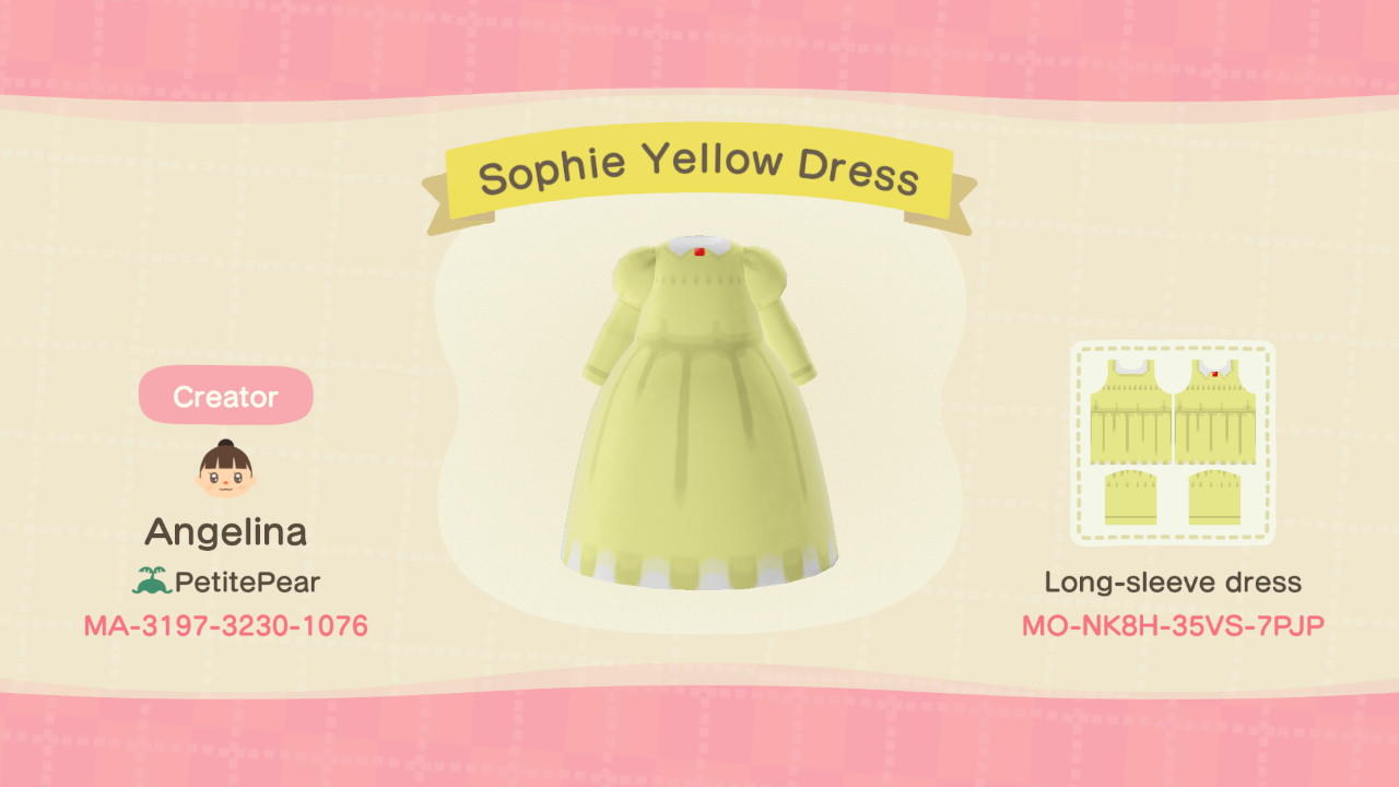 Sophie Yellow Dress - Animal Crossing: New Horizons Custom Design