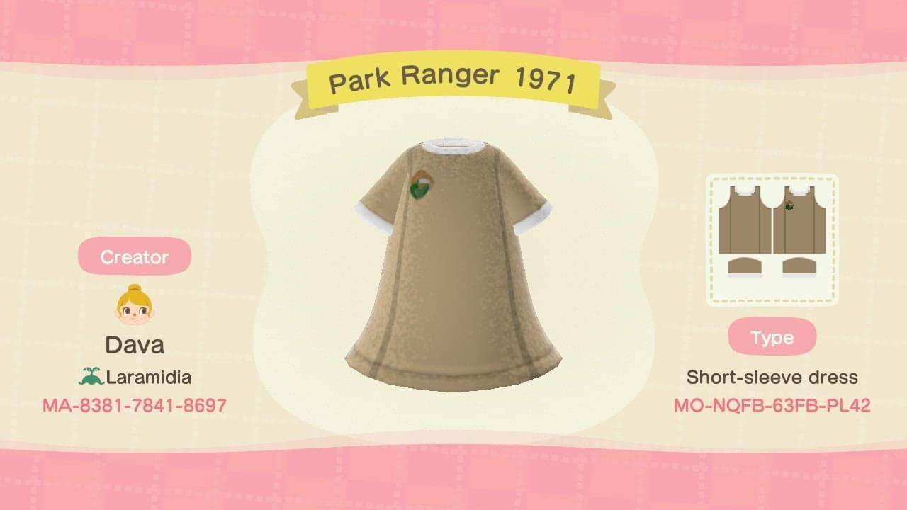 NPS Park Ranger 1971 - Animal Crossing: New Horizons Custom Design