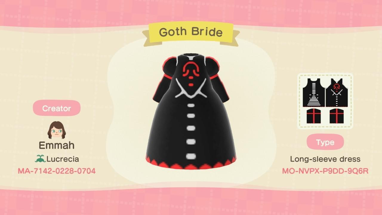 Goth Bride - Animal Crossing: New Horizons Custom Design