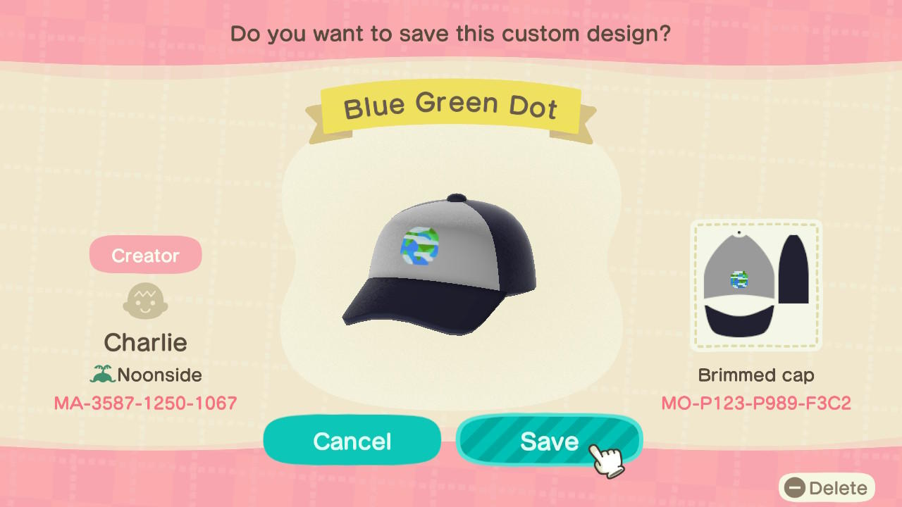 Blue/Green Dot Cap - Animal Crossing: New Horizons Custom Design