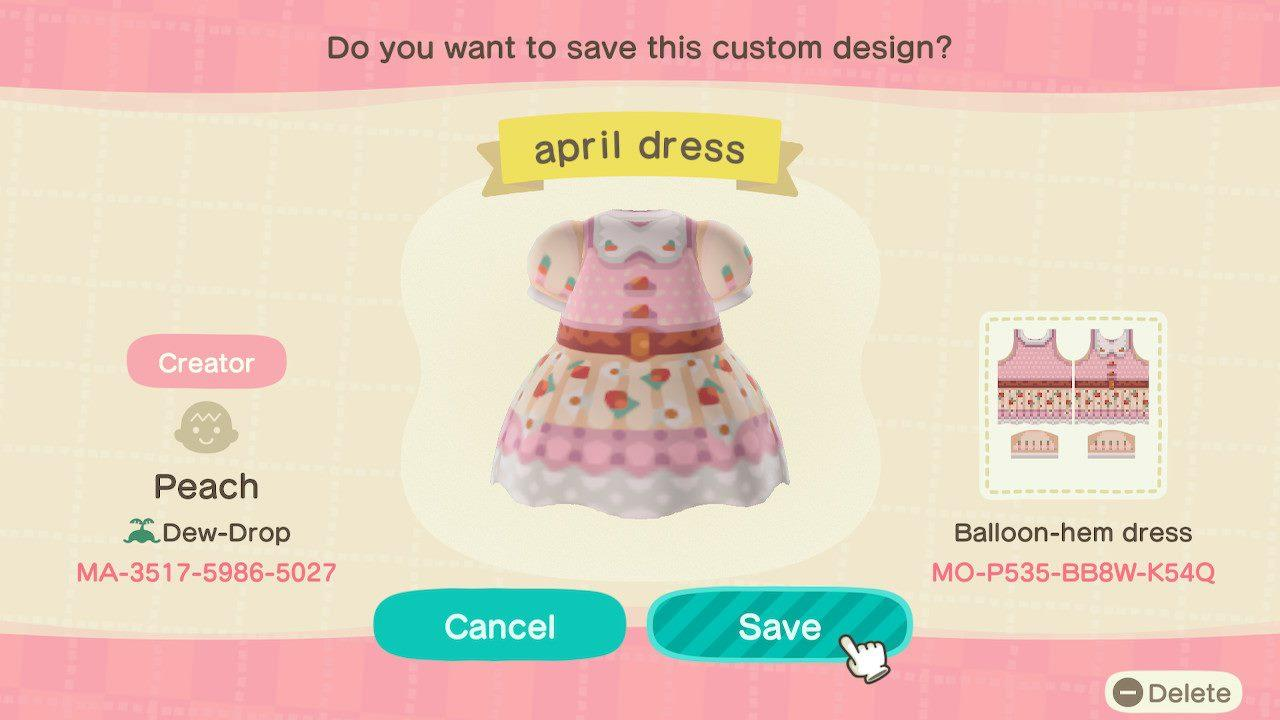 april dress - Animal Crossing: New Horizons Custom Design