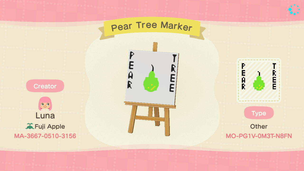 Pear Tree Marker - Animal Crossing: New Horizons Custom Design