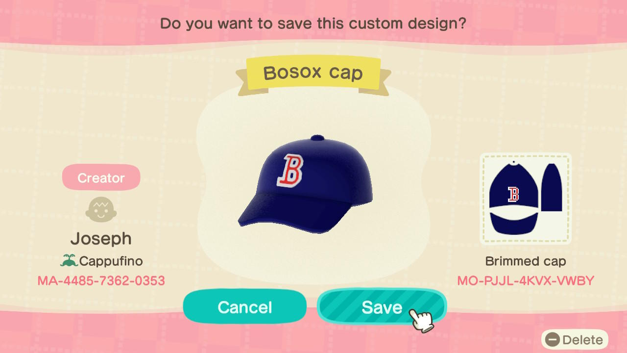 Bosox Cap - Animal Crossing: New Horizons Custom Design