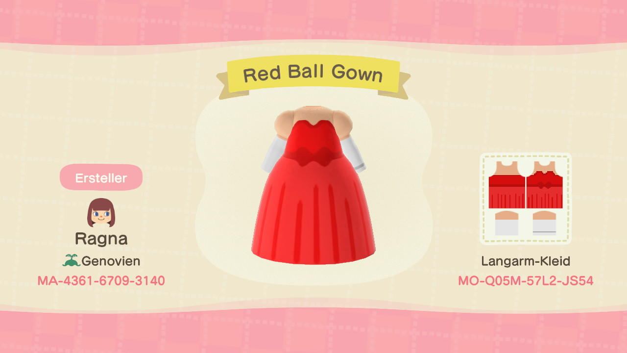 Red Ball Gown - Animal Crossing: New Horizons Custom Design