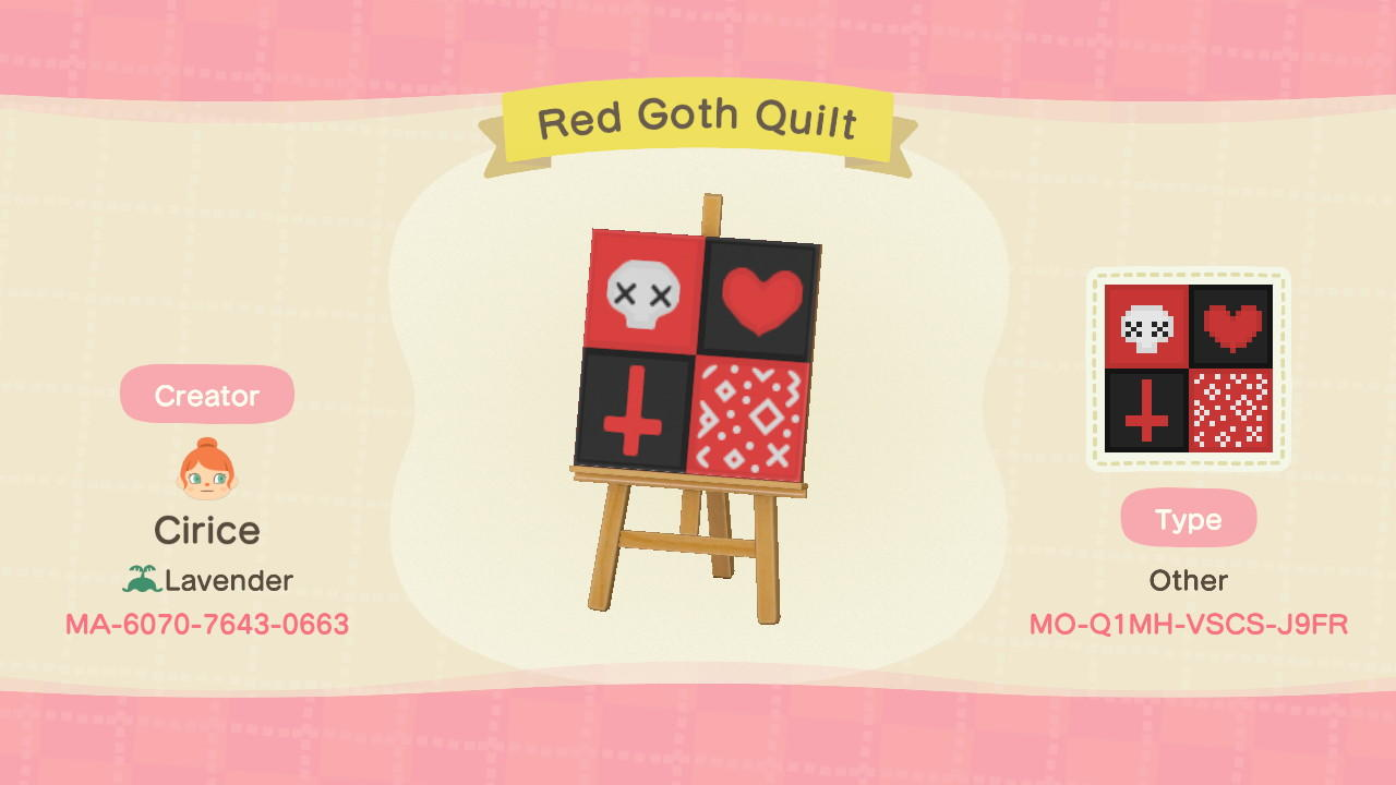 Red Goth Quilt - Animal Crossing: New Horizons Custom Design