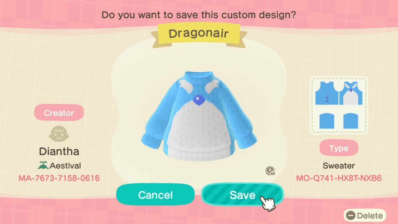 Dragonair Sweater - Animal Crossing: New Horizons Custom Design