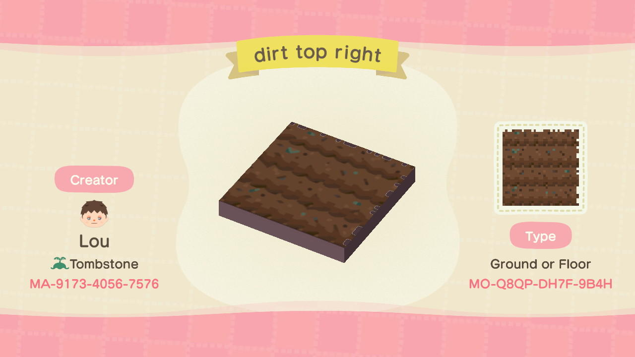 dirt top right - Animal Crossing: New Horizons Custom Design